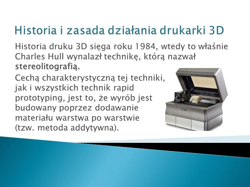 Historia druku 3D sięga roku 1984, wtedy to właśnie Charles Hull wynalazł technikę, którą nazwał stereolitografią. Cechą charakterystyczną tej technik