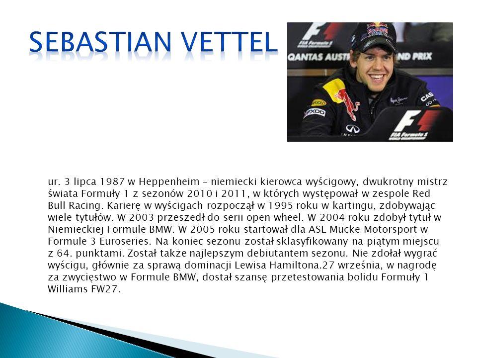 ur. 3 lipca 1987 w Heppenheim – niemiecki kierowca wyścigowy, dwukrotny mistrz świata Formuły 1 z sezonów 2010 i 2011, w których występował w zespole