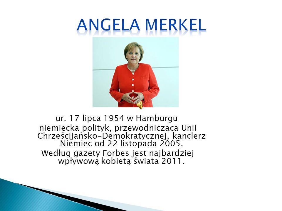 ur. 17 lipca 1954 w Hamburgu niemiecka polityk, przewodnicząca Unii Chrześcijańsko-Demokratycznej, kanclerz Niemiec od 22 listopada 2005. Według gazet
