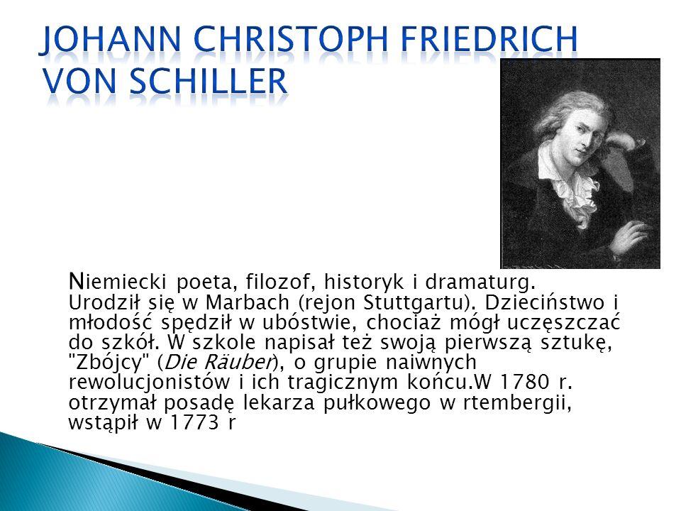 N iemiecki poeta, filozof, historyk i dramaturg. Urodził się w Marbach (rejon Stuttgartu).
