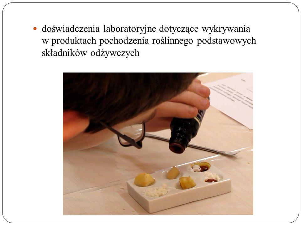 doświadczenia laboratoryjne dotyczące wykrywania w produktach pochodzenia roślinnego podstawowych składników odżywczych