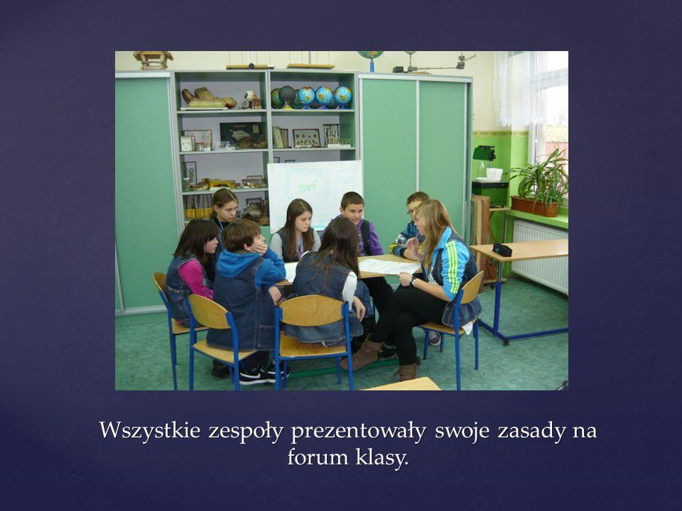 Wszystkie zespoły prezentowały swoje zasady na forum klasy.