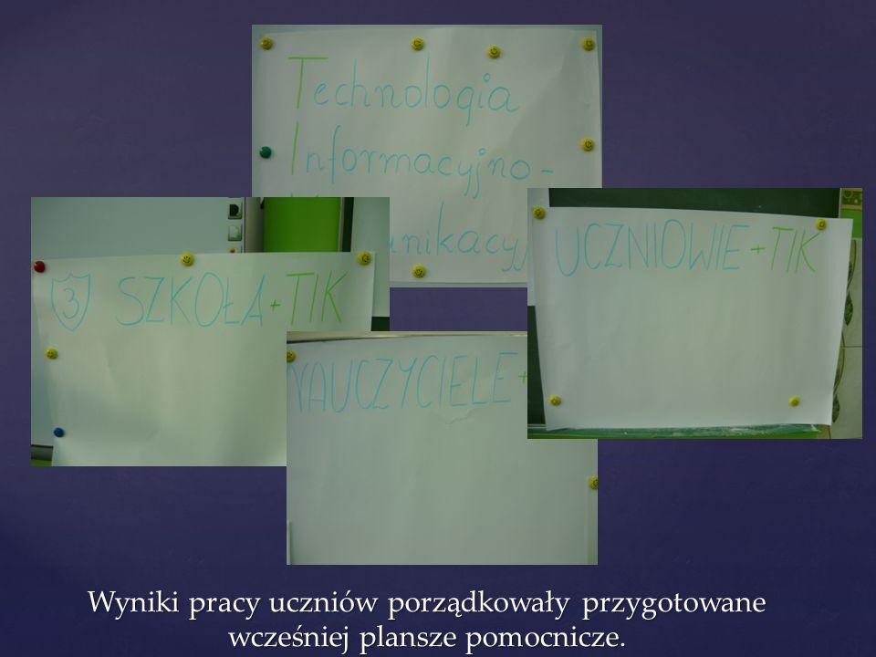 Uczniowie wskazali pozytywne praktyki korzystania z TIK w szkole, przez nauczycieli oraz przez ich kolegów.
