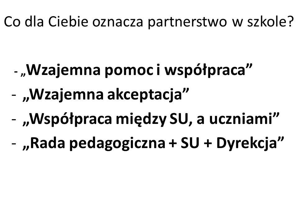Co dla Ciebie oznacza partnerstwo w szkole? - Wzajemna pomoc i współpraca -Wzajemna akceptacja -Współpraca między SU, a uczniami -Rada pedagogiczna +