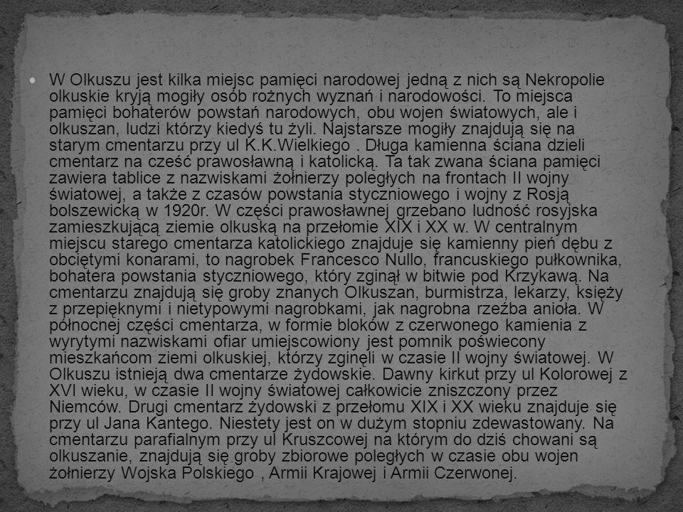 W Olkuszu jest kilka miejsc pamięci narodowej jedną z nich są Nekropolie olkuskie kryją mogiły osób rożnych wyznań i narodowości. To miejsca pamięci b