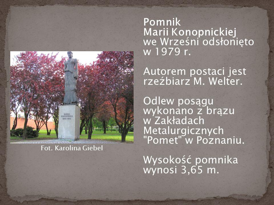 Pomnik Marii Konopnickiej we Wrześni odsłonięto w 1979 r.