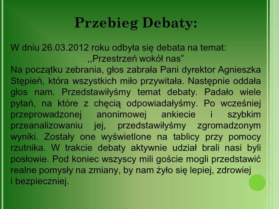 Przebieg Debaty: W dniu 26.03.2012 roku odbyła się debata na temat:,,Przestrzeń wokół nas Na początku zebrania, głos zabrała Pani dyrektor Agnieszka S
