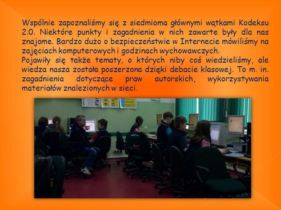 Po burzliwych i bardzo owocnych dyskusjach wypracowaliśmy takie punkty w naszym klasowym Kodeksie 2.0 1.Wykorzystanie komputera i Internetu na zajęciach matematyki, j.