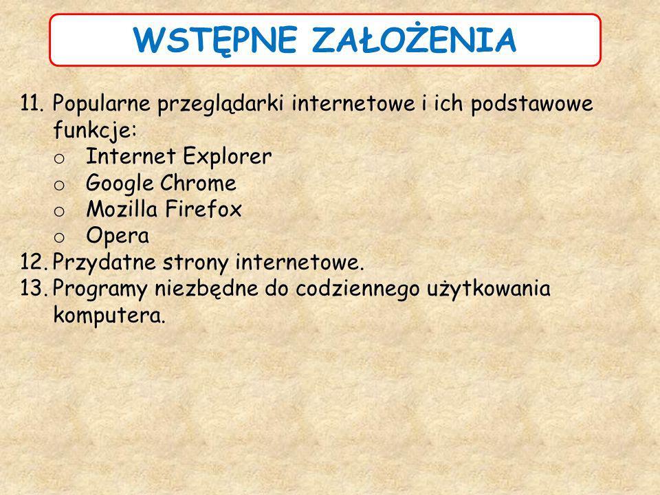 WSTĘPNE ZAŁOŻENIA 11.Popularne przeglądarki internetowe i ich podstawowe funkcje: o Internet Explorer o Google Chrome o Mozilla Firefox o Opera 12.Prz