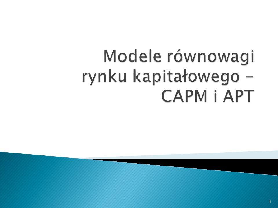 Opodatkowanie zysków Krótka sprzedaż niedozwolona Heterogeniczne oczekiwania Niemożliwe pożyczanie po stopie wolnej od ryzyka: zero-beta CAPM Wielookresowy CAPM, Multi-beta CAPM, Consumption-oriented CAPM, itp.