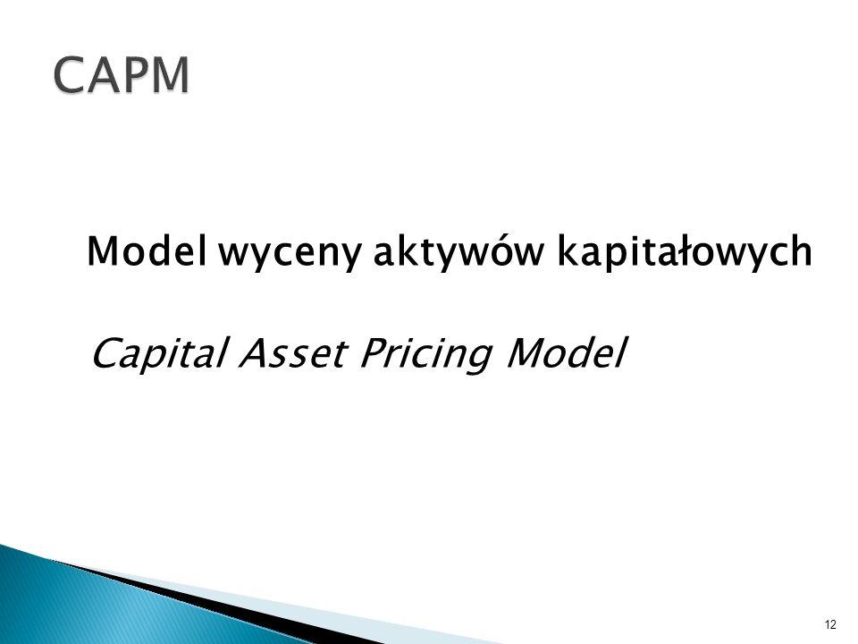Model wyceny aktywów kapitałowych Capital Asset Pricing Model 12