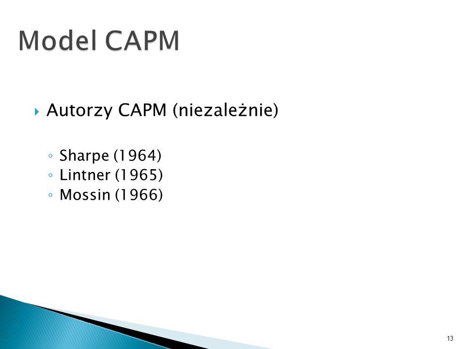 Autorzy CAPM (niezależnie) Sharpe (1964) Lintner (1965) Mossin (1966) 13