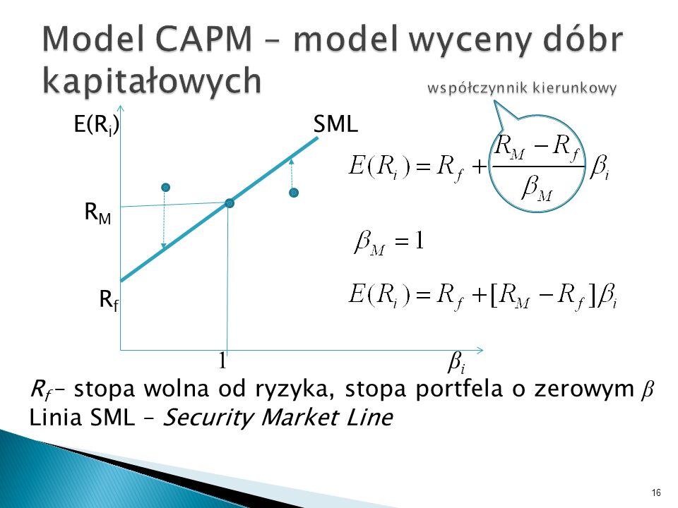 E(R i ) SML R M R f 1 β i R f – stopa wolna od ryzyka, stopa portfela o zerowym β Linia SML – Security Market Line 16