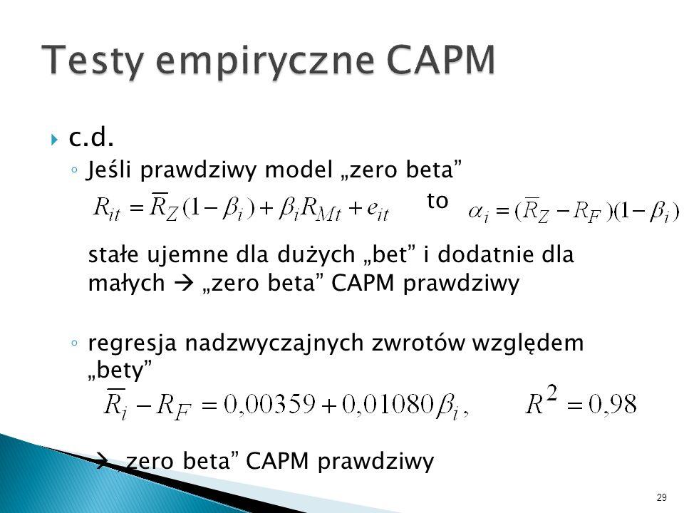 c.d. Jeśli prawdziwy model zero beta to stałe ujemne dla dużych bet i dodatnie dla małych zero beta CAPM prawdziwy regresja nadzwyczajnych zwrotów wzg