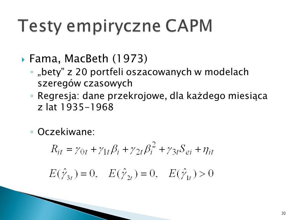 Fama, MacBeth (1973) bety z 20 portfeli oszacowanych w modelach szeregów czasowych Regresja: dane przekrojowe, dla każdego miesiąca z lat 1935-1968 Oczekiwane: 30
