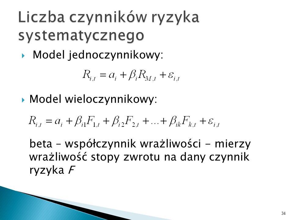 Model jednoczynnikowy: Model wieloczynnikowy: beta – współczynnik wrażliwości - mierzy wrażliwość stopy zwrotu na dany czynnik ryzyka F 34