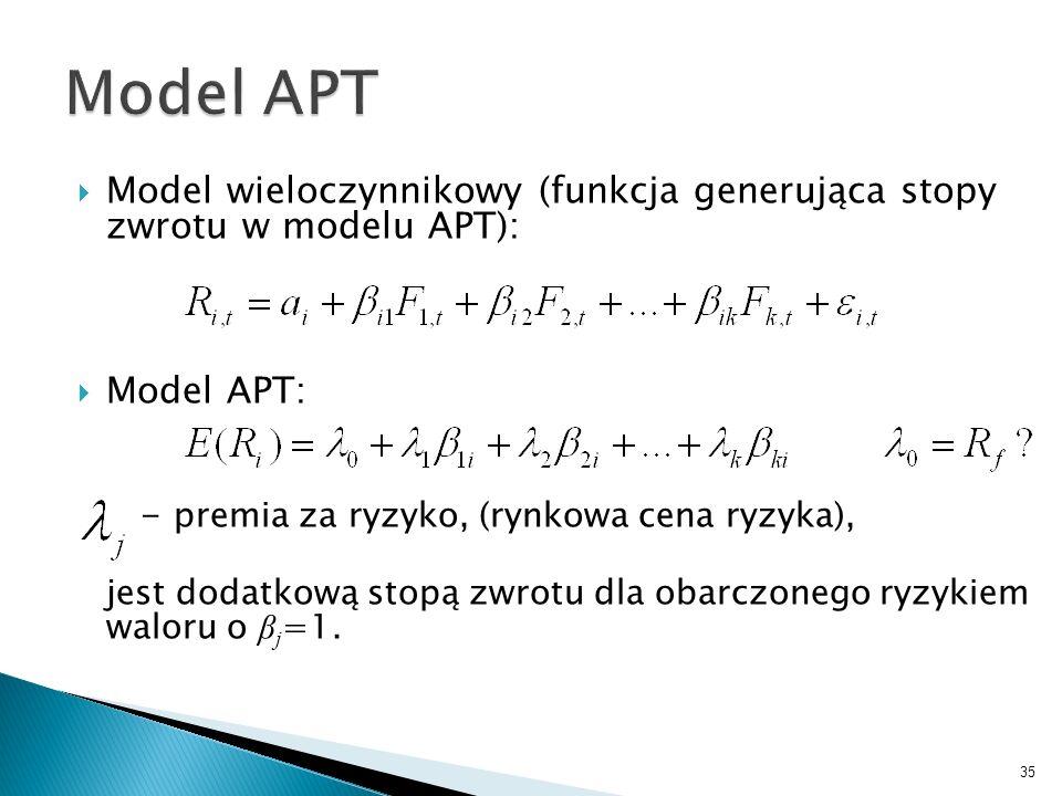 Model wieloczynnikowy (funkcja generująca stopy zwrotu w modelu APT): Model APT: - premia za ryzyko, (rynkowa cena ryzyka), jest dodatkową stopą zwrotu dla obarczonego ryzykiem waloru o β j =1.