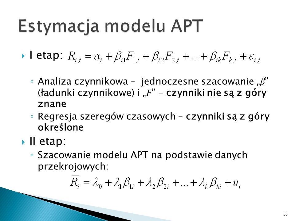 I etap: Analiza czynnikowa – jednoczesne szacowanie β (ładunki czynnikowe) i F – czynniki nie są z góry znane Regresja szeregów czasowych – czynniki są z góry określone II etap: Szacowanie modelu APT na podstawie danych przekrojowych: 36
