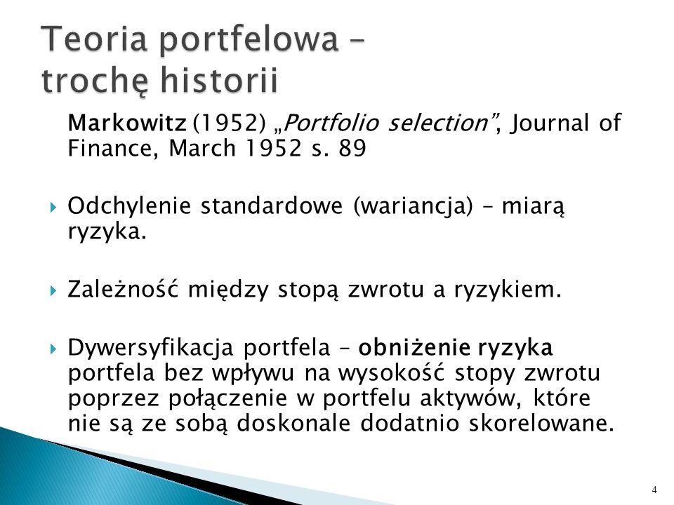 Markowitz (1952) Portfolio selection, Journal of Finance, March 1952 s.