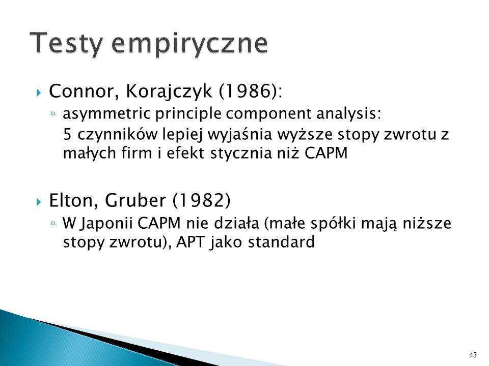 Connor, Korajczyk (1986): asymmetric principle component analysis: 5 czynników lepiej wyjaśnia wyższe stopy zwrotu z małych firm i efekt stycznia niż CAPM Elton, Gruber (1982) W Japonii CAPM nie działa (małe spółki mają niższe stopy zwrotu), APT jako standard 43