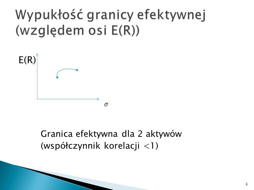 E(R) σ Granica efektywna dla 2 aktywów (współczynnik korelacji <1) 6