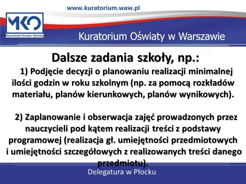 Delegatura w Płocku Dalsze zadania szkoły, np.: 1) Podjęcie decyzji o planowaniu realizacji minimalnej ilości godzin w roku szkolnym (np. za pomocą ro