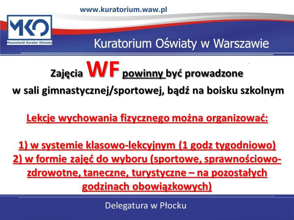 Delegatura w Płocku Zajęcia WF powinny być prowadzone w sali gimnastycznej/sportowej, bądź na boisku szkolnym Lekcje wychowania fizycznego można organ