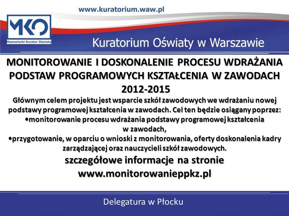 Delegatura w Płocku MONITOROWANIE I DOSKONALENIE PROCESU WDRAŻANIA PODSTAW PROGRAMOWYCH KSZTAŁCENIA W ZAWODACH 2012-2015 Głównym celem projektu jest w