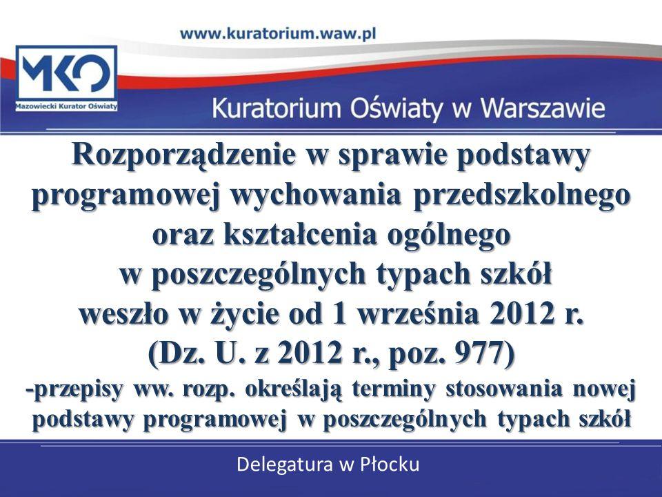 Delegatura w Płocku Rozporządzenie w sprawie podstawy programowej wychowania przedszkolnego oraz kształcenia ogólnego w poszczególnych typach szkół we