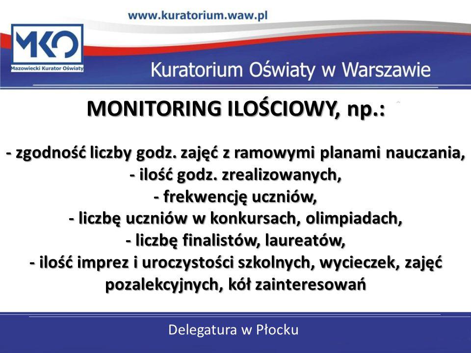 Delegatura w Płocku MONITORING ILOŚCIOWY, np.: - zgodność liczby godz. zajęć z ramowymi planami nauczania, - ilość godz. zrealizowanych, - frekwencję