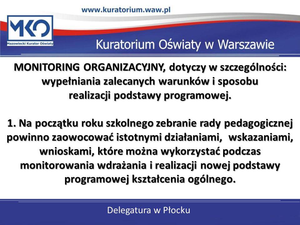 Delegatura w Płocku MONITORING ORGANIZACYJNY, dotyczy w szczególności: wypełniania zalecanych warunków i sposobu realizacji podstawy programowej. 1. N