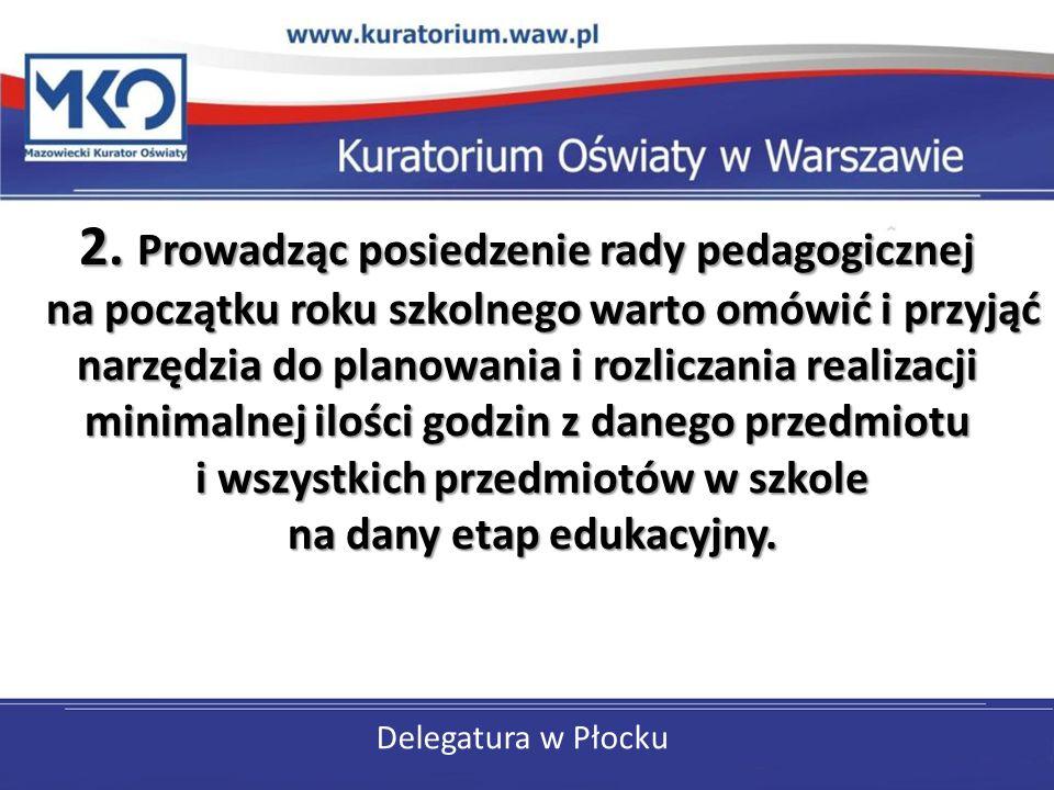 Delegatura w Płocku 2. Prowadząc posiedzenie rady pedagogicznej na początku roku szkolnego warto omówić i przyjąć narzędzia do planowania i rozliczani