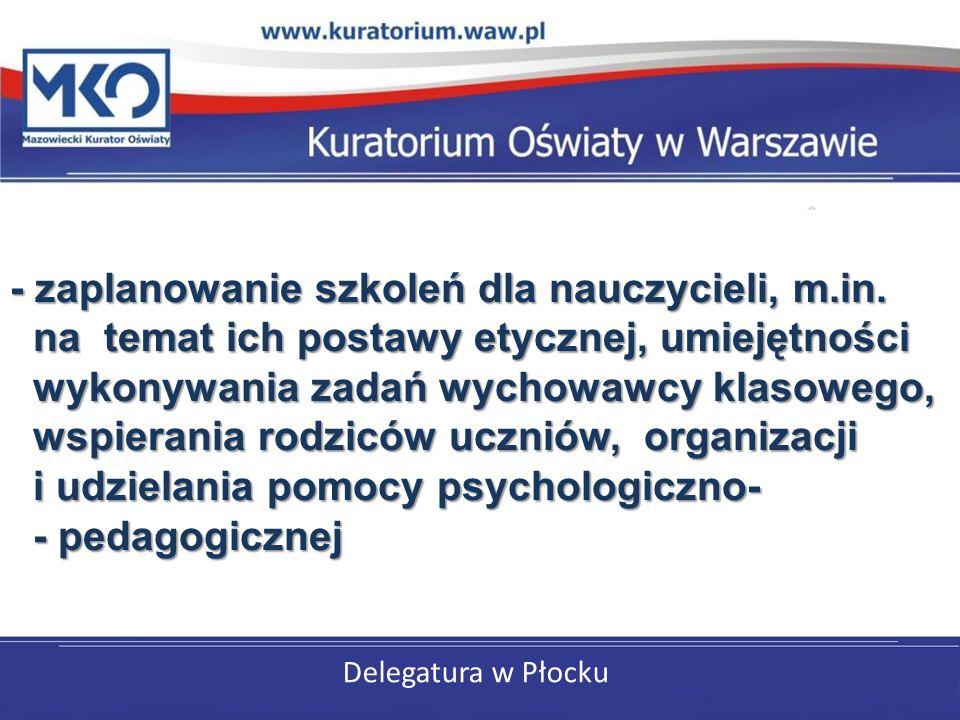 Delegatura w Płocku - zaplanowanie szkoleń dla nauczycieli, m.in.