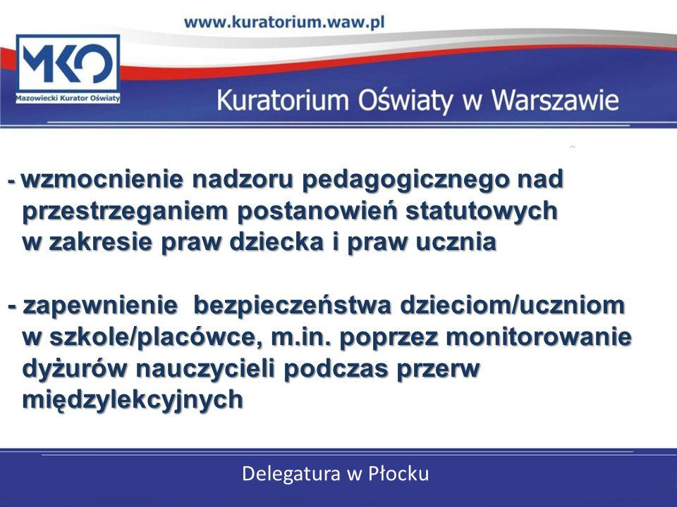 Delegatura w Płocku - wzmocnienie nadzoru pedagogicznego nad przestrzeganiem postanowień statutowych w zakresie praw dziecka i praw ucznia - zapewnienie bezpieczeństwa dzieciom/uczniom w szkole/placówce, m.in.