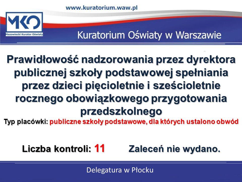 Delegatura w Płocku Prawidłowość nadzorowania przez dyrektora publicznej szkoły podstawowej spełniania przez dzieci pięcioletnie i sześcioletnie rocznego obowiązkowego przygotowania przedszkolnego Typ placówki: publiczne szkoły podstawowe, dla których ustalono obwód Liczba kontroli: 11 Zaleceń nie wydano.