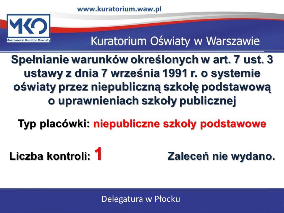 Delegatura w Płocku Spełnianie warunków określonych w art.