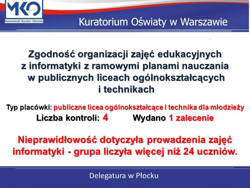 Delegatura w Płocku Zgodność organizacji zajęć edukacyjnych z informatyki z ramowymi planami nauczania w publicznych liceach ogólnokształcących i technikach Typ placówki: publiczne licea ogólnokształcące i technika dla młodzieży Liczba kontroli: 4 Wydano 1 zalecenie Nieprawidłowość dotyczyła prowadzenia zajęć informatyki - grupa liczyła więcej niż 24 uczniów.