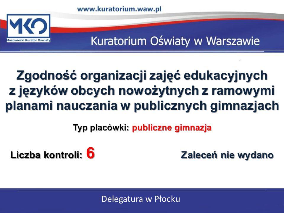 Delegatura w Płocku Zgodność organizacji zajęć edukacyjnych z języków obcych nowożytnych z ramowymi planami nauczania w publicznych gimnazjach Typ placówki: publiczne gimnazja Liczba kontroli: 6 Zaleceń nie wydano