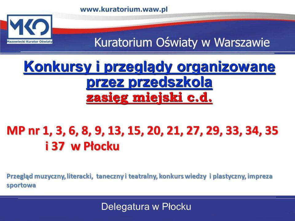Konkursy i przeglądy organizowane przez przedszkola zasięg miejski c.d.
