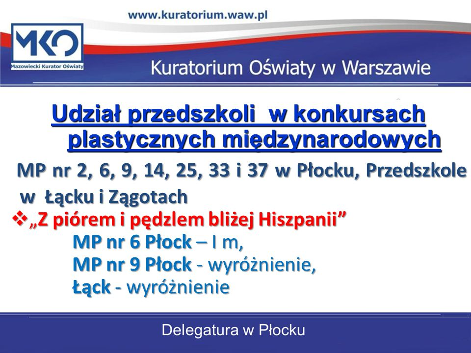 Udział przedszkoli w konkursach plastycznych międzynarodowych MP nr 2, 6, 9, 14, 25, 33 i 37 w Płocku, Przedszkole w Łącku i Zągotach Z piórem i pędzlem bliżej HiszpaniiZ piórem i pędzlem bliżej Hiszpanii MP nr 6 Płock – I m, MP nr 9 Płock - wyróżnienie, MP nr 9 Płock - wyróżnienie, Łąck - wyróżnienie Łąck - wyróżnienie
