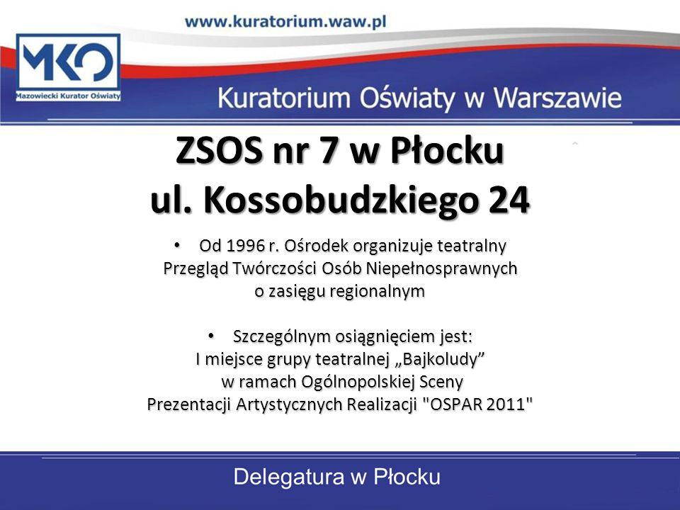 ZSOS nr 7 w Płocku ul. Kossobudzkiego 24 Od 1996 r. Ośrodek organizuje teatralny Od 1996 r. Ośrodek organizuje teatralny Przegląd Twórczości Osób Niep