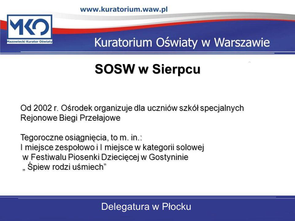 SOSW w Sierpcu Od 2002 r. Ośrodek organizuje dla uczniów szkół specjalnych Rejonowe Biegi Przełajowe Tegoroczne osiągnięcia, to m. in.: I miejsce zesp