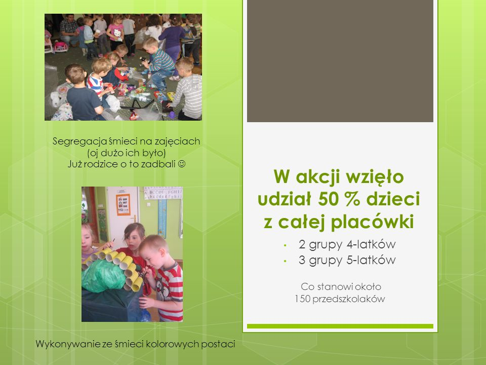 Na akcję informacyjną składały się różne aktywności dzieci, rodziców i nauczycieli.
