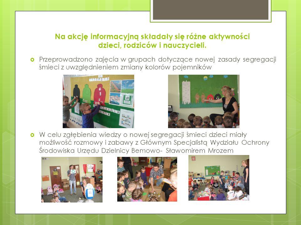 Na akcję informacyjną składały się różne aktywności dzieci, rodziców i nauczycieli. Przeprowadzono zajęcia w grupach dotyczące nowej zasady segregacji