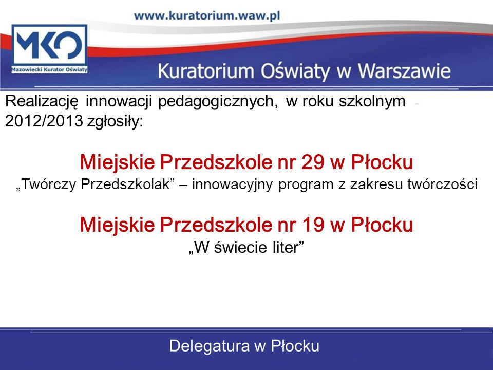 Realizację innowacji pedagogicznych, w roku szkolnym 2012/2013 zgłosiły: Miejskie Przedszkole nr 29 w Płocku Twórczy Przedszkolak – innowacyjny progra