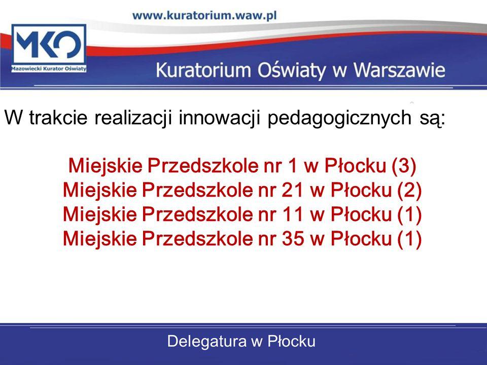 W trakcie realizacji innowacji pedagogicznych są: Miejskie Przedszkole nr 1 w Płocku (3) Miejskie Przedszkole nr 21 w Płocku (2) Miejskie Przedszkole