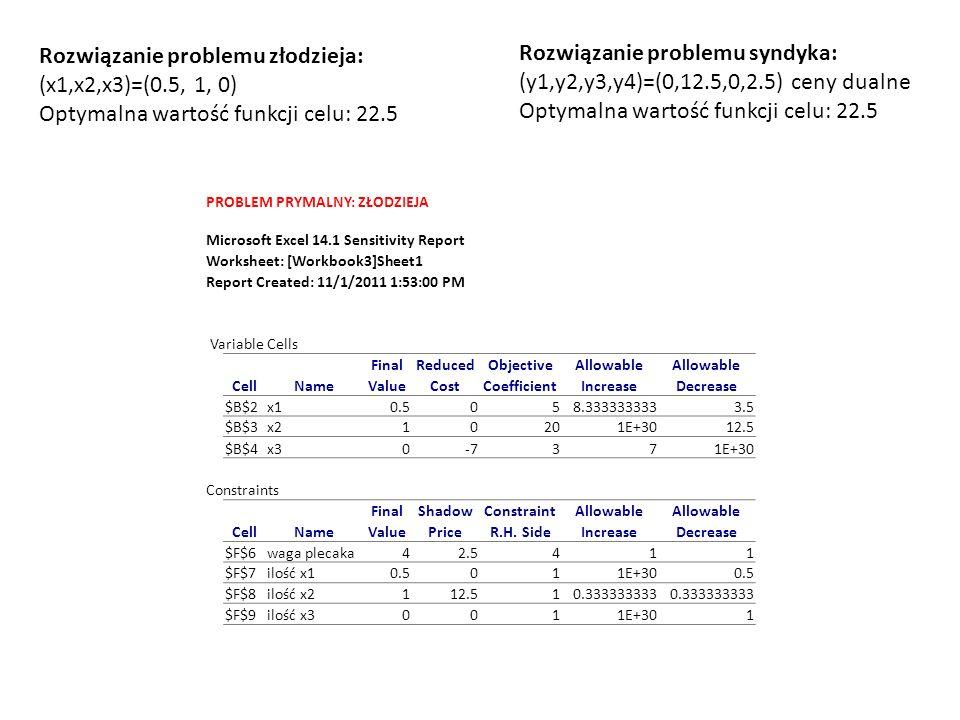 Maxmin i minimax funkcja celu Strategia prądu p1-p minimalizuj13.310.310.69 Oczekiwana wypłata ze strategii wewnętrznej13.31<=13.31 zewnętrznej12.79<=13.31 in-out13.31<=13.31 prawdopodobieństwa1.00= funkcja celu Strategia rybaków q1q2q3 maksymalizuj13.310.670.000.33 Oczekiwana wypłata prądu gdy: płynę13.31>=13.31 nie płynę13.31>=13.31 prawdopodobieństwa1.00=