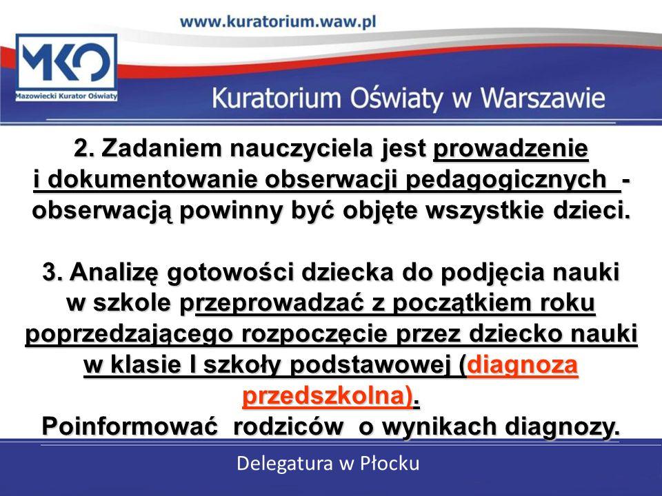 Delegatura w Płocku 2. Zadaniem nauczyciela jest prowadzenie i dokumentowanie obserwacji pedagogicznych - obserwacją powinny być objęte wszystkie dzie