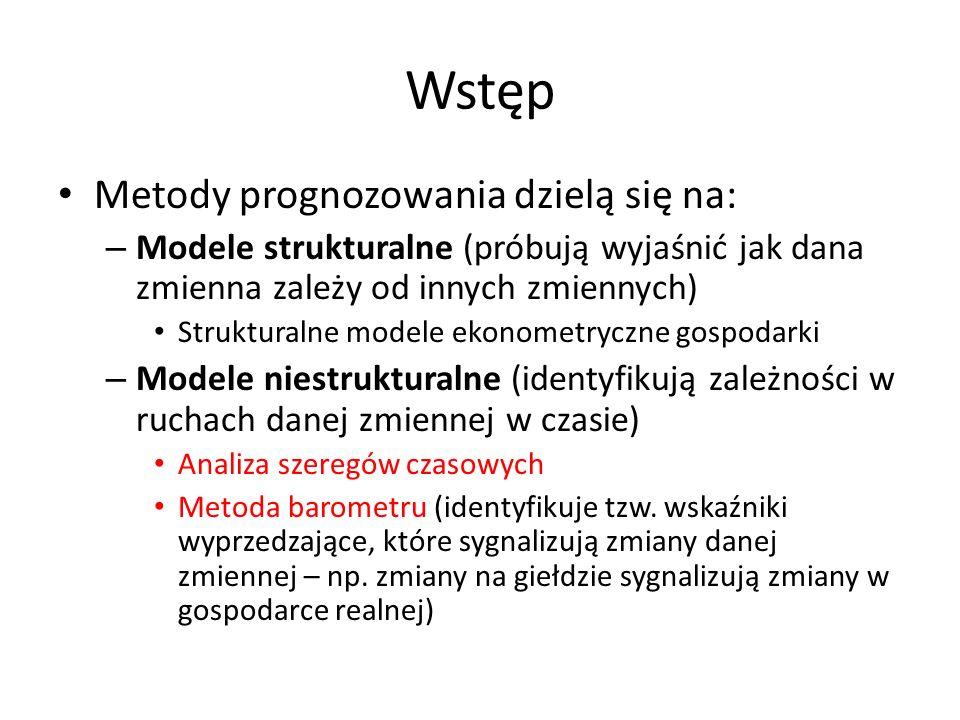 Wstęp Metody prognozowania dzielą się na: – Modele strukturalne (próbują wyjaśnić jak dana zmienna zależy od innych zmiennych) Strukturalne modele eko