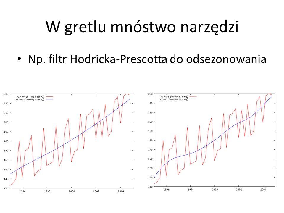W gretlu mnóstwo narzędzi Np. filtr Hodricka-Prescotta do odsezonowania